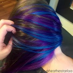 Trendy Hair Highlights Picture Description Violet underneath with blue highlights. Blonde Brown Hair Color, Purple Hair Streaks, Dyed Hair Blue, Brown Hair With Highlights, Hair Color Highlights, Brown Hair Colors, Violet Hair, Vivid Hair Color, Hair Dye Colors