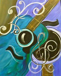 Wine and Canvas and guitars. #music #musicart www.pinterest.com/TheHitman14/music-art-%2B/