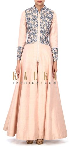 Buy Online from the link below. We ship worldwide (Free Shipping over US$100) Price- $359 Click Anywhere to Tag http://www.kalkifashion.com/peach-anarkali-suit-enhanced-in-printed-bodice-only-on-kalki.html