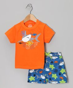 Granma's turtle boy? -  Orange & Blue Shark UV Tee & Swim Trunks - Infant by One Step Ahead on #zulily today!
