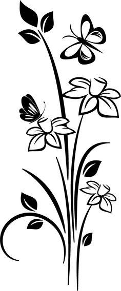 Floral decorative vinyl vertical orientation which shows some butterflies on a bouquet of flowers. Stencil Patterns, Stencil Art, Stencil Designs, Paint Designs, Flower Stencils, Simple Wall Paintings, Wall Painting Decor, Dot Art Painting, Art Drawings Sketches