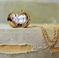 Shiny Gold Secret Message Locket - Vintage Brass Ball Locket Necklace - New Edition. $20.00, via Etsy. #InLove