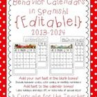 This set contains 12 *EDITABLE* calendars in SPANISH for the 2013-2014 school year {July 2013 to June 2014}.  I will continue to update the calenda...