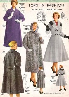 Coats and Jackets History History of Coats and Jackets: Three 1957 topper coats and one fitted swing coat.History of Coats and Jackets: Three 1957 topper coats and one fitted swing coat. 1950s Style, Vintage Outfits, Vintage Dresses, 50s Outfits, Fashion Outfits, 1950s Fashion, Vintage Fashion, Rockabilly Fashion, Punk Fashion
