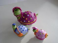 Handmade Clay Turtle Family Sculpture by PaisleyandParadise, $40.00