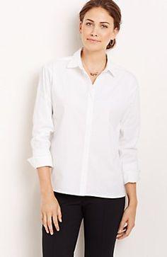 56b33f9c59ffa easy button-front shirt Crisp White Shirt