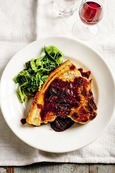 I came up with this recipe while filming at a brilliant farm restaurant called Coombeshead in Cornwall. It was September and there was a bumper crop of sloes – perfect to cut through the fattiness of the meat. Farm Restaurant, Rick Stein, Savoy Cabbage, Delicious Dinner Recipes, Pork Chops, Cornwall, Vegetable Pizza, Meat, September