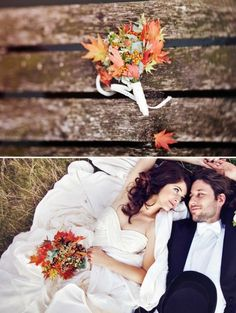 I love the autumn-y bouquet :D  And the bride and groom picture <3