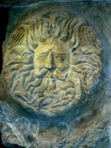 sculpture of god at Aqua Sulis