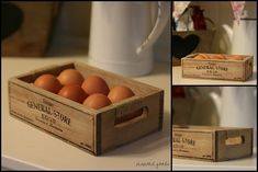Rustic Wooden 6 Egg Storage Holder Box With Handles