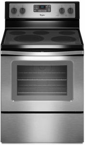 WFE530C0ES Whirlpool 5.3 Cu. Ft. Freestanding Electric Range with High-Heat Self-Cleaning System - Black on Stainless Steel (Counter Depth)