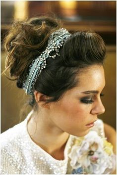 "Like a Rhinestone Cowgirl: This chic rhinestone hair wrap ($155) has a beautiful vintage feel, and it looks great with a twisted bouffant. Plus, it's a perfect ""something blue."""