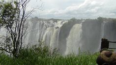 A close up view of Victoria Falls taken from the pedestrian bridge.
