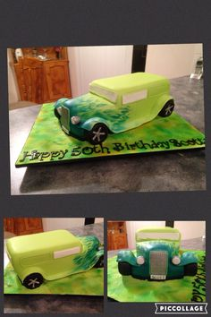 White chocolate mud cake sculptured into a hot rod for a friends 50th Birthday.. Approx 36 cm long and very heavy!!