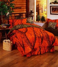Blaze Orange - Comforter Sets, Sheets & Accessories For Adrians room. Ava want one in pink camo Bedroom Sets, Dream Bedroom, Bedroom Decor, Bedroom Stuff, Dream Rooms, Orange Comforter, Comforter Sets, Camo Bedding, Camouflage