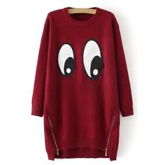 Cartoon Eyes Pattern Long Sweater (€29) ❤ liked on Polyvore featuring tops, sweaters, print top, comic book, long length sweaters, pattern tops and long sweaters