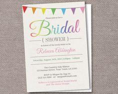 Rainbow Bunting Flags Rustic Bridal Shower Invitations