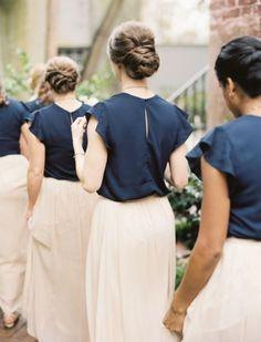 38 Beautiful Spring Bridesmaids' Dresses: navy tops with ruffled sleeves and blush maxi skirts