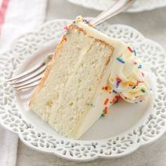 The BEST White Cake Recipe - Live Well Bake OftenThis is my favorite white cake recipe! This cake is light, tender, moist, and topped with a delicious vanilla buttercream frosting. Köstliche Desserts, Delicious Desserts, Dessert Recipes, Recipes Dinner, Paleo Dessert, Amazing White Cake Recipe, Best Vanilla Cake Recipe, Simple Cake Recipe No Butter, White Cake Recipe Cake Flour