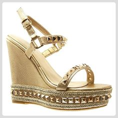 Angkorly - damen Schuhe Sandalen Mule - Plateauschuhe - Nieten - besetzt - Geflochten - String Tanga Keilabsatz high heel 13.5 CM - Champagner LL675 T 40 - Sandalen für frauen (*Partner-Link)
