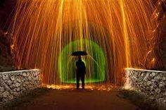 Showcase of Beautiful Rain Photography Steel Wool Photography, Rain Photography, Umbrellas Parasols, Light Painting, Dark Backgrounds, More Photos, Creative Art, Graffiti, Fire