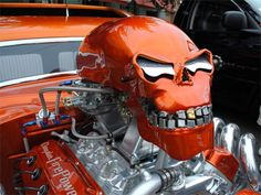 """It's powered by a 1957 Chrysler """"Fire Power"""" 392 Hemi, and the nitro system blows out through the nose of the skull.  So cool...."""