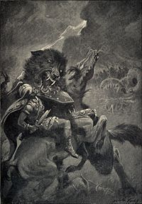 """In Norse mythology, Fenrir (Old Norse: """"fen-dweller""""),Fenrisúlfr (Old Norse: """"Fenris wolf""""),[2] Hróðvitnir (Old Norse: """"fame-wolf""""),[3] or Vánagandr (Old Norse: """"the monster of the river Ván"""")[4] is a monstrous wolf. Fenrir is attested in the Poetic Edda, compiled in the 13th century from earlier traditional sources, and the Prose Edda and Heimskringla, written in the 13th century by Snorri Sturluson. In both the Poetic Edda and Prose Edda, Fenrir is the father of the wolves Sköll and Hati…"""