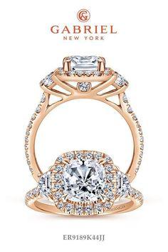 Three (3) Stones Rose Gold Cushion Cut Engagement Ring