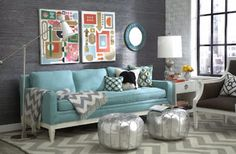 Retro and eclectic living room