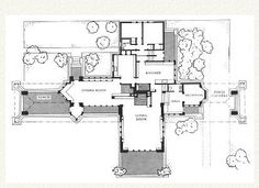 Plan. Ward W. Willits House 1901. Highland Park, Illinois. Prairie Style. Frank Lloyd Wright