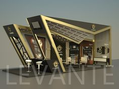 An attractive design with elegant forms and angular forms pictures a luxurious presence of Levante at the Show Living Room Partition Design, Room Partition Designs, Exhibition Stall, Exhibition Stand Design, Architecture Concept Drawings, Architecture Design, Shelter Design, Building A Container Home, Lobby Interior