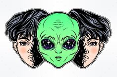 Alien from outer space face in disguise as a girl. Illustration , - Alien from outer space face in disguise as a girl. Spaceship Drawing, Alien Spaceship, Alien Drawings, Space Drawings, Alien Tattoo, Chica Alien, Lechuza Tattoo, Ufo, Art Alien