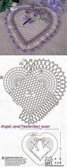Салфетка сердечко крючком | La | Crochet