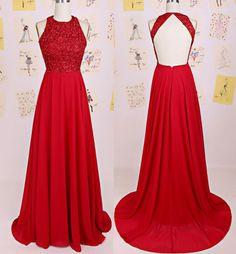 Charming Prom Dress,O-Neck Prom Dress,A-Line Prom Dress,Chiffon Prom Dress,Backless Evening Formal Dress,Red Prom Dress