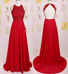 Beaded Embellished Halter Neck Floor Length A-Line Chiffon Prom Gown with Open Back Detailing - Evening Gown