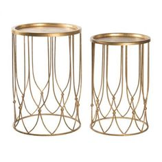 Wish Bone Side Table Set in Gold design by Aidan Gray (¥70,200) ❤ liked on Polyvore featuring home, furniture, tables, accent tables, side tables, dresser, gold table, modern home furniture, gold end table and gold accent table