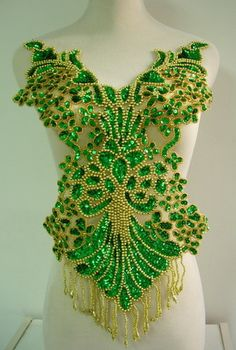 BD08-2 Dancewear Bodice Fringed Sequin Beaded Applique Green Samba/Show Dress
