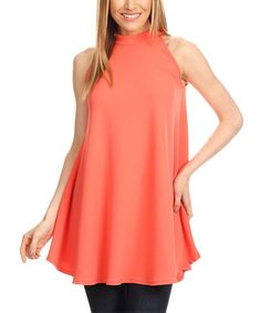 Coral Mock Neck Sleeveless Tunic