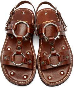 Saint Laurent Brown Leather Hardware Sandals
