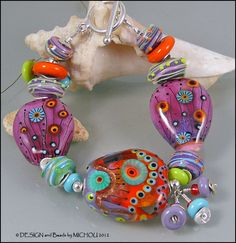 Purple on Fire - Lampwork and Sterling Silver Bracelet by Michou Pascale Anderson