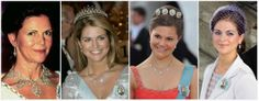 The Connaught Tiara 1. as necklace, 2. & 3.  drops only as necklace,  4. as earrings