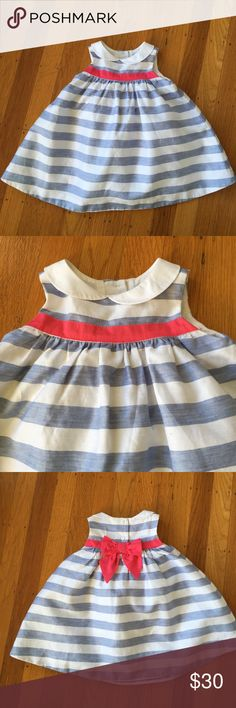 Janie and Jack dress White and light blue textured stripe dress with bright pink bow. NWOT. Perfect for Easter or a Birthday! Size 6-12 months. Janie and Jack Dresses