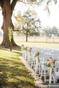 our white resin folding chairs created the perfect look for victoria and jakes windsong ranch wedding