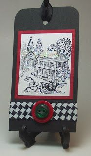 Red, white, black Christmas gift tag.