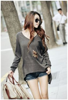 Plus Size V-Neck Irregular Hem Long Sleeved T-Shirt For Women (DEEP GRAY,ONE SIZE) China Wholesale - Sammydress.com
