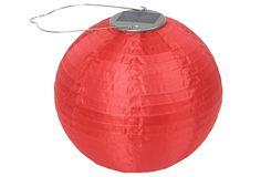 Solar-Powered Round Lantern, Red on OneKingsLane.com