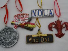 Just a sampling of Nola-themed ornaments available on www.copperfancy.com !! CHeck us out. thanks!!