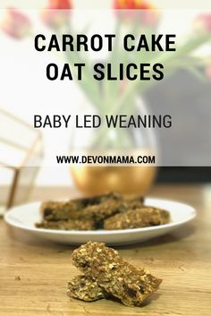 Carrot Cake Oat Slices. Gluten, dairy and sugar free. Perfect for baby led weaning!