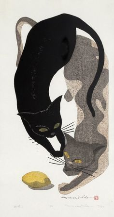 two cats & lemon - woodblock print - Ido Masao (born 1945, Japan)