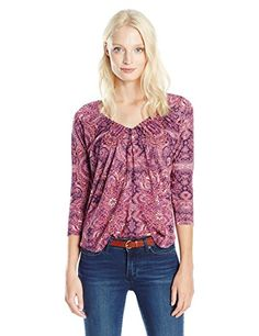 529c0a6b666567 Lucky Brand Women's Pleated Top, Red Multi, X-Small at Amazon Women's  Clothing store:
